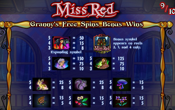 Miss Red free spin bonus